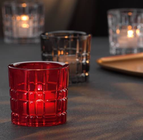 Square red candelabro