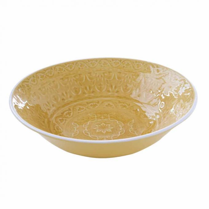 Ambiente yellow amber bowl 22cms